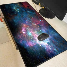 XGZ Large Waterproof Mouse Pad Rubber Gaming Keyboard Desk Mat with Locking Edge Outer Space Stars Nebulae Wrist Rest