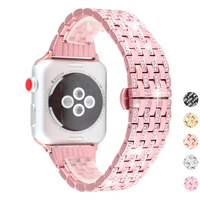 Stylish Crystal Diamond strap for Apple Watch band 38mm 42mm 40 44mm stainless steel Replacement Bands for iWatch series 5/4/3/2 iwatch 38mm Bands 42mm Sport 44mm Armband 40mm bracelet Apple watch 4 band Serie 5 woman