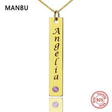 Custom Name Bar Necklaces Personalized Gold silver Color with Birthstone pendant Necklace Engraved Nameplate for women jewelry все цены