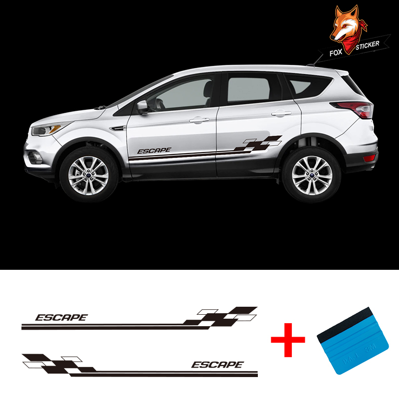 Etiqueta Engomada Del Vinilo Coche Calcomanía Auto larga a rayas Gráfico cuerpo lado Sports Racing