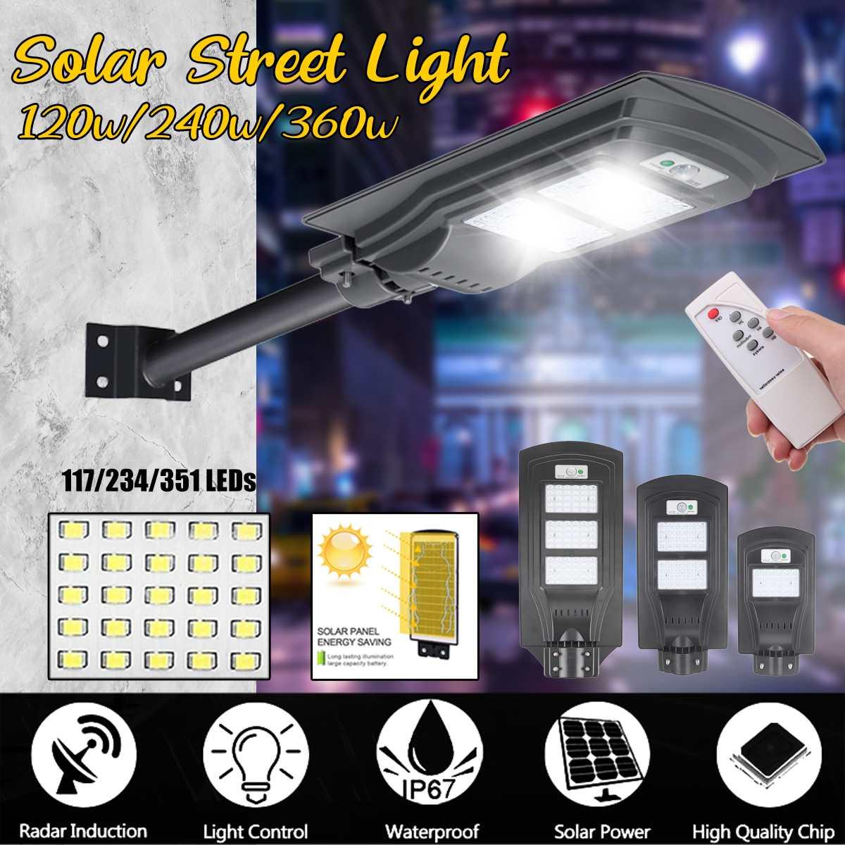 Contrebande xi 23000LM 120 W/240 W/360 W réverbère solaire 117/234/351 LED éclairage extérieur lampe de sécurité capteur de mouvement télécommande IP65