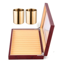 2-Piece Pencil Cup Holder Pen Pot Makeup Brushes Holder with 12 Slots Wood Pen Display Box Pen Fountain Storage Box