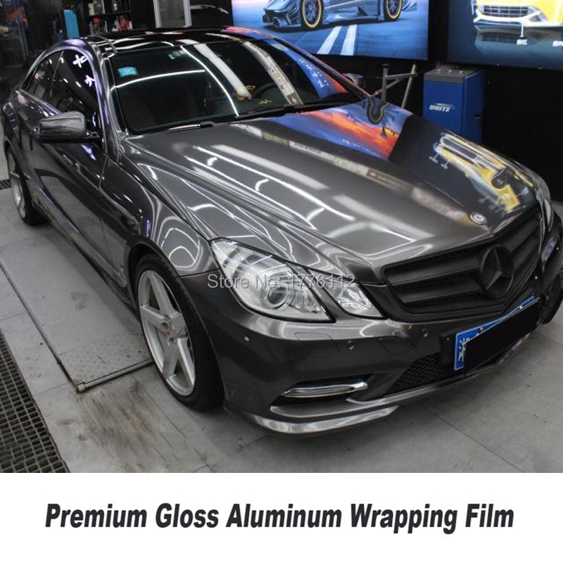 Us 255 0 Upgrade High End Car Wrappin Gloss Metallic Gunmetal Vinyl Wrap Car Wrapping Styling With Air Bubble Free Dark Grey Glossy Foil On