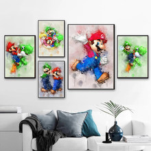 Canvas Painting With Frame Cartoon Poster Print Wall Art Canvas Mario Figure Painting Nordic Minimalism Kid Bedroom Living Room