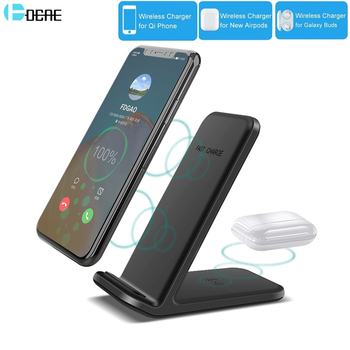 DCAE 15W 2 in 1 Qi Wireless Charger For iPhone 11 XS Max XR X 8 Airpods Pro Dual Fast Charging Stand for Samsung S20 S10 S9 Buds
