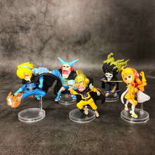 Anime One Piece Sanji Nami Brook Usopp Franky PVC Action Figure Collectible Model doll toy 4~9cm (5pcs/set) 6pcs set wcf one piece action figures dolls toys sanji vinsmoke family pvc figure doll