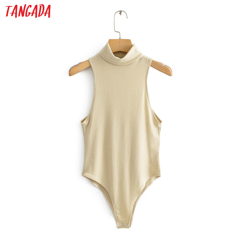 Tangada Women Sexy Beige Sleeveless Turtleneck Bodysuit Big Stretchy European Fashion Solid Shirt Playsuit QJ102