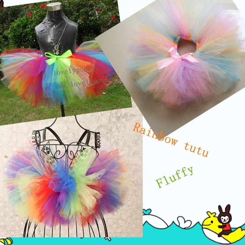 Tutu Skirt Girls Baby Birthday Party Fluffy Rainbow Skirt Black Multi Colors Handmake Ballet Dance Skirt Christmas Costume Tutu 5
