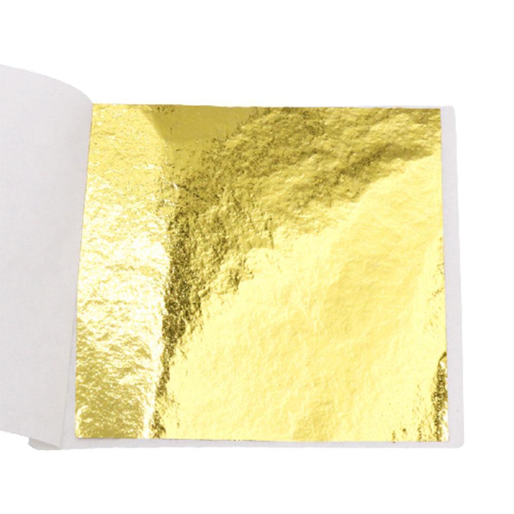 100X Gold/Silver/Copper Foil Double Sided Paper Decoration 9*9 Gilding Paper Decor cm Leaves DIY Design Leaf Sheets Crafts X1U4
