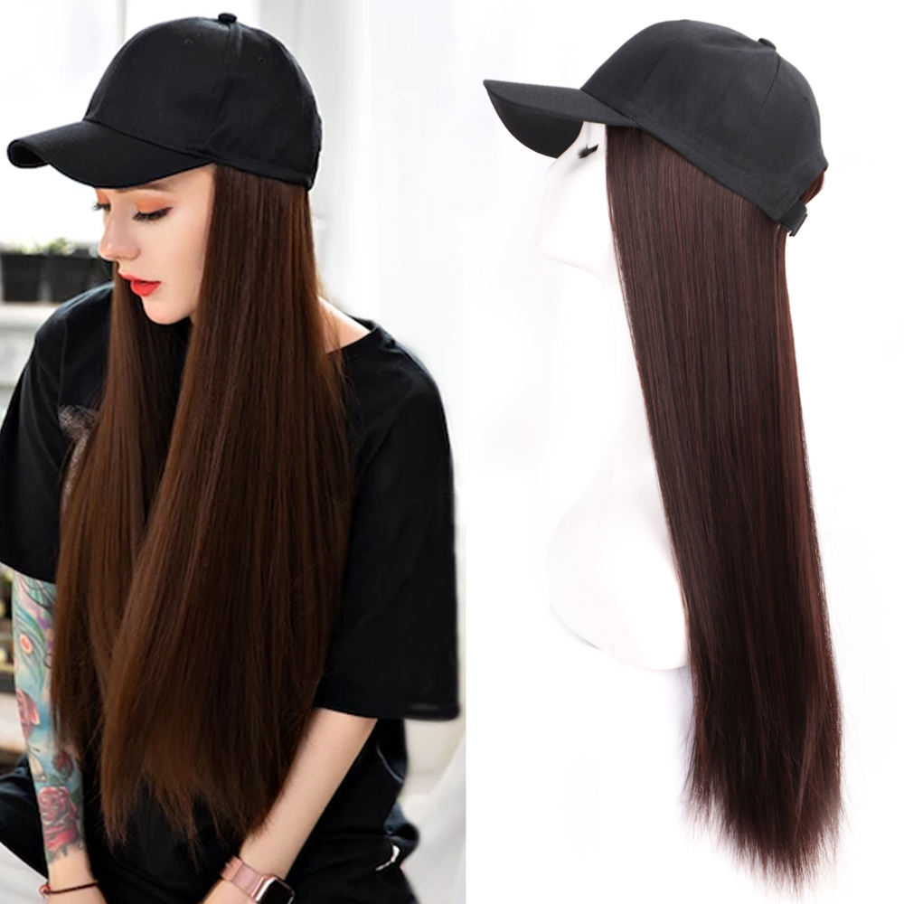 Long Synthetic Baseball Cap Wig Natural Black / Brown Straight Wigs Naturally Connect Synthetic Hat Wig Adjustable For Girls