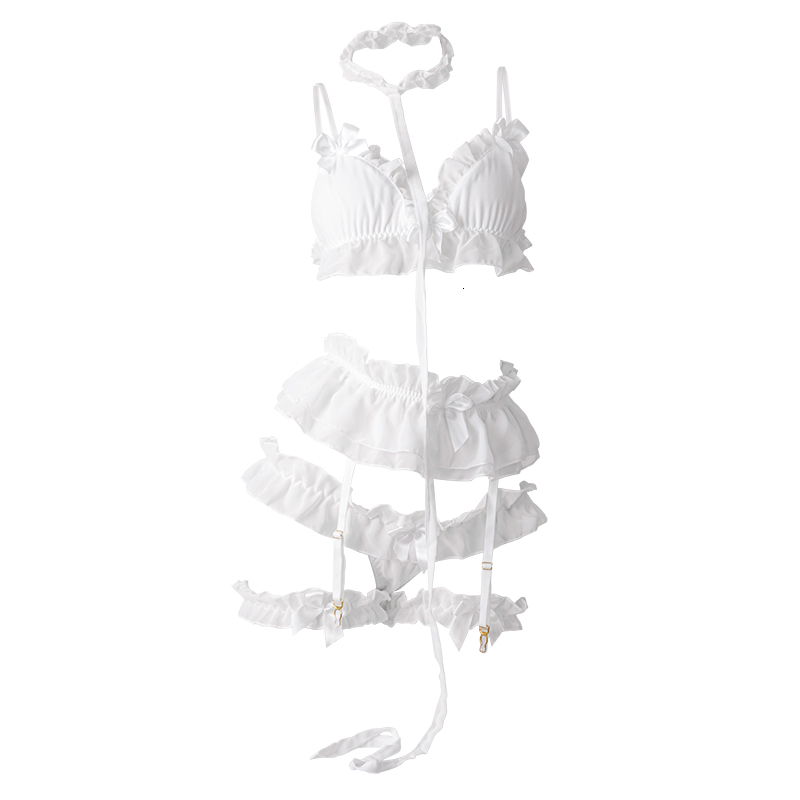 H79f1301bc63542d4a1870d66726811b7I Japanese Lolita Women Sexy Lingerie Set Cute Ruffles Lace Kawaii Babydoll White Black Gothic Pajamas Cosplay Costumes For women