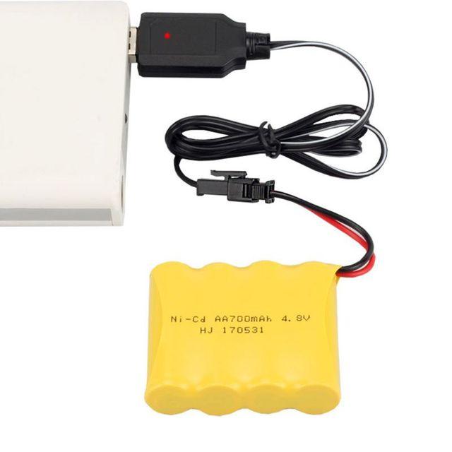 Cavo di ricarica Caricatore del USB Della Batteria Ni Cd Ni Mh Batterie Pack SM 2P Plug Adapter 4.8V 250mA Uscita Giocattoli Auto