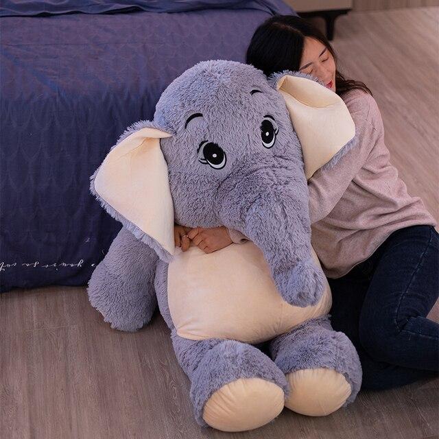 38~68cm Stuffed Fuzzy Grey Elephant Plush Toy Comforting Eli Animal Doll Children Birthday Gift 1