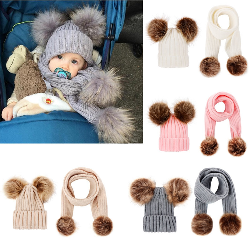 Newest 2019 Hot Newborn Girls Boys Winter Warmer Wool Fur Kids Cap Suit Pompom Ball Baby Knitted Cotton Hat