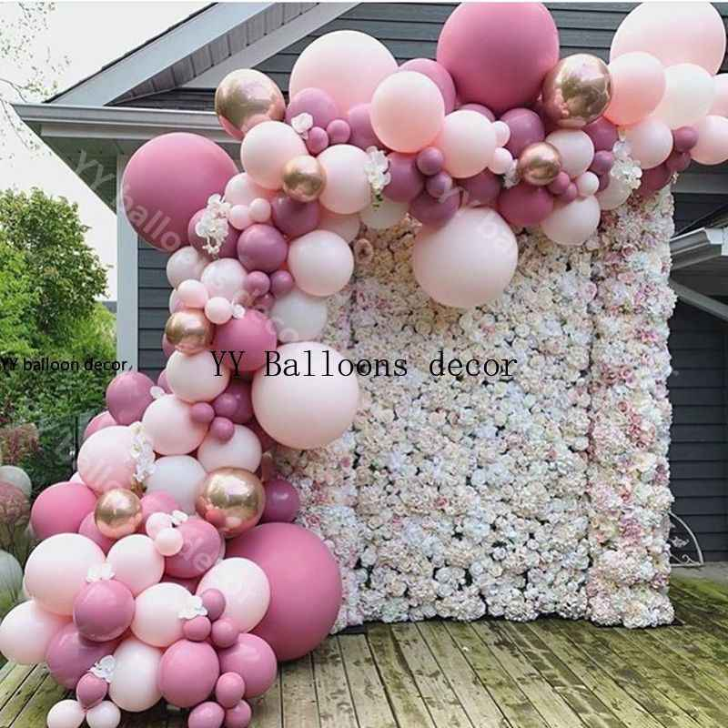 Pastel Baby Pink White Balloon Garland Arch Wedding Baby Shower Party Backdrop Tape Wall Global Decor