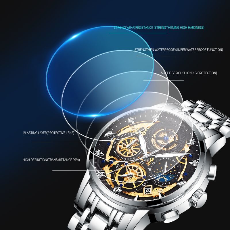 2021 New Fashion Men's Watch Stainless Steel Top Brand Luxury Waterproof  Sports Chronograph Quartz  Men's Relogio Masculino 4