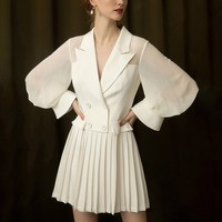 Elegant Notched Double Breasted Women Dress Office Blazer White Dress Slim Suit Pleated Chiffon Dresses