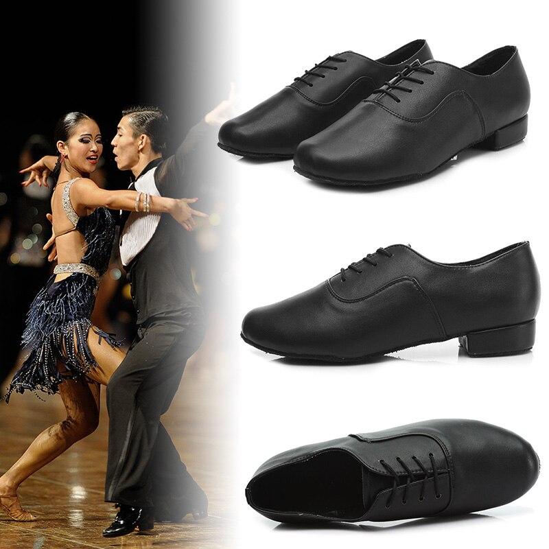 Heel Leather Male Boy Ballroom Jazz Modern Tango Latin Soft Outsole Dancing Shoe Mens Lace up Dance Shoes