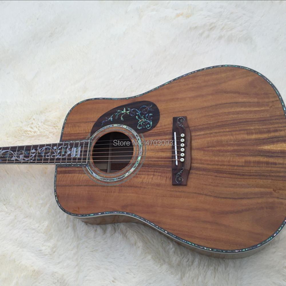 Guitare acoustique supérieure en bois KOA massif, pickguard en palissandre avec incrustation d'ormeau, guitare électrique véritable ormeau 41