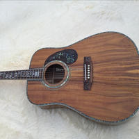 Top ALL Solid KOA wood acoustic guitar,Rosewood pickguard with abalone inlay, 41 Real Abalone Electric guitar,Free shipping
