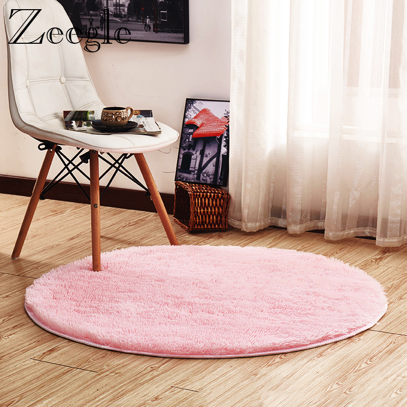 Pink Round Carpet Nordic Style Long Plush Carpet Rug For Living Room Bedroom Rugs Shaggy Foot Mats Large Size Soft Floor Mats