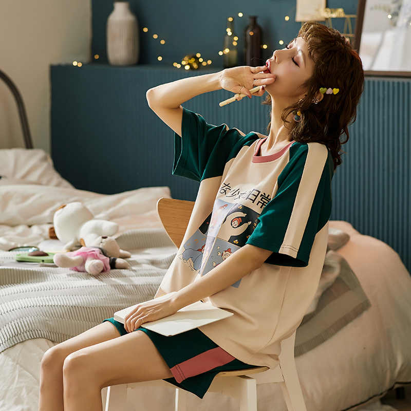 Bzel shorts de manga curta pijamas de algodão macio conjunto de pijama feminino das senhoras dos desenhos animados roupa interior de verão