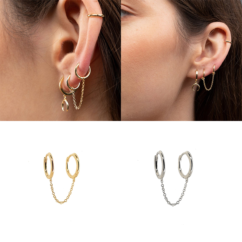 1pcs Fashion Women Gothic Punk Handcuff Double Chain Piercing Earrings 925 Sterling Silver European Long Drop Tassel Earrings