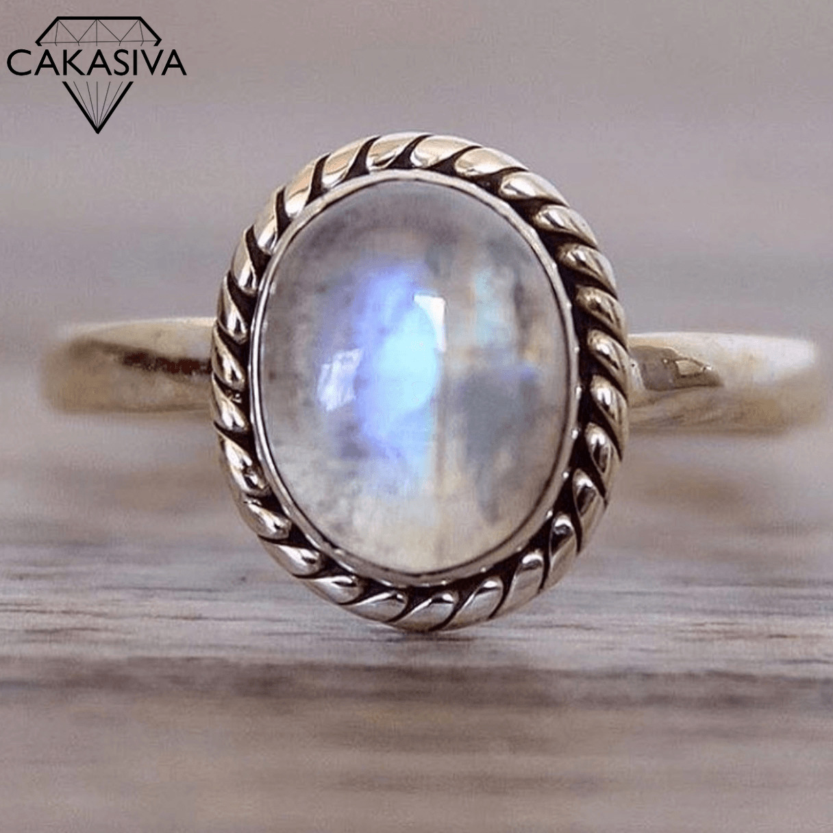 Punk Vintage Thai Silver Ring 925 Silver Ring Set with Moonstone Gemstone Rings for Women