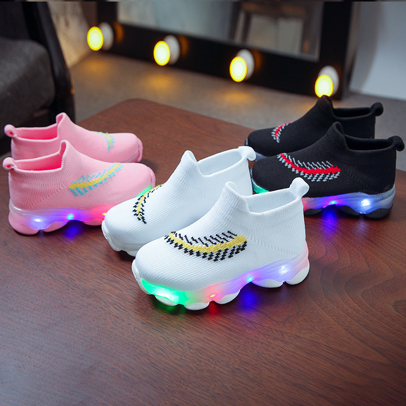 Winter Girls Shoes Sports LED Weave Baby Tenis Casual Breathable Kids Sneakers Socks Shoes Toddler Boy Shoes