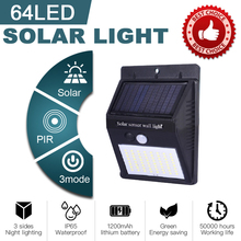 64 LED Solar Power Street Light Motion Sensor Lamp Waterproof Panel PIR Garden Decoration Lighting Outdoor Pathway Wall Lamp big promotion 15 led solar power panel sensor wall street light waterproof outdoor garden path spotlight decoration lamp