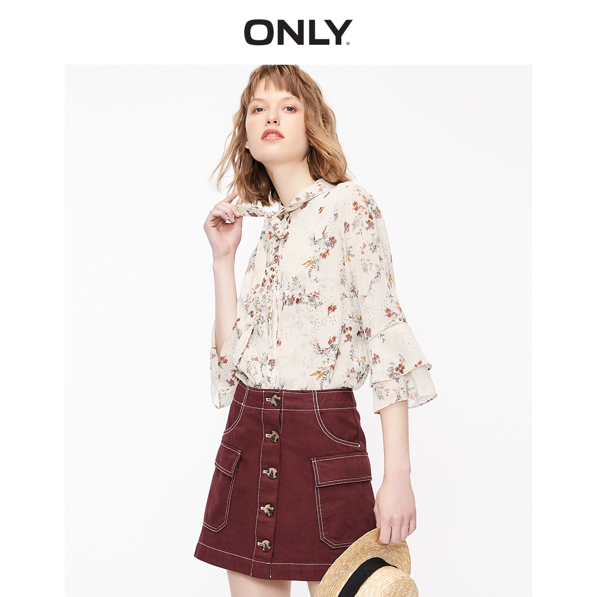 ONLY Women's Loose Fit Floral Bowknot Chiffon Shirt   119231516