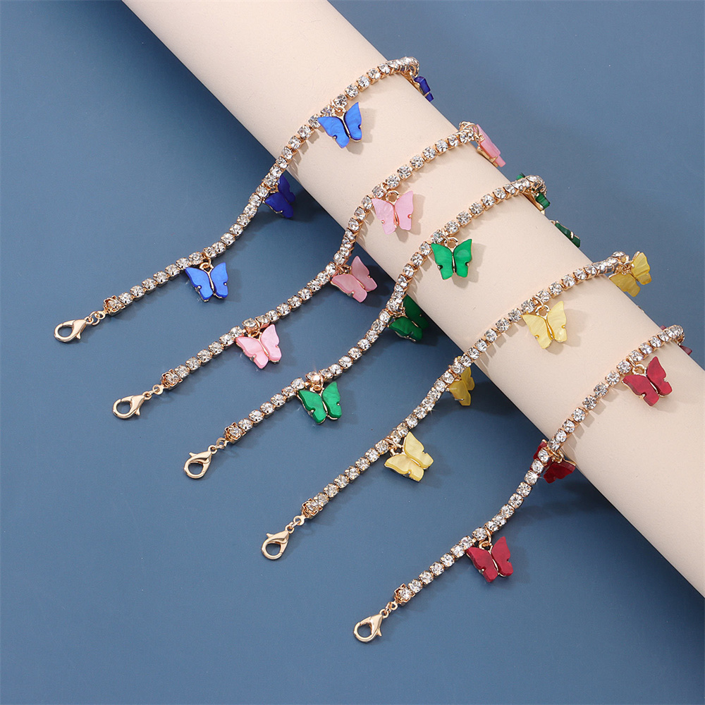 2021 New Anklet Colored Acrylic Cuban Butterfly Anklet Ladies Fashion Full Rhinestone Beach Anklet Dating Accessories
