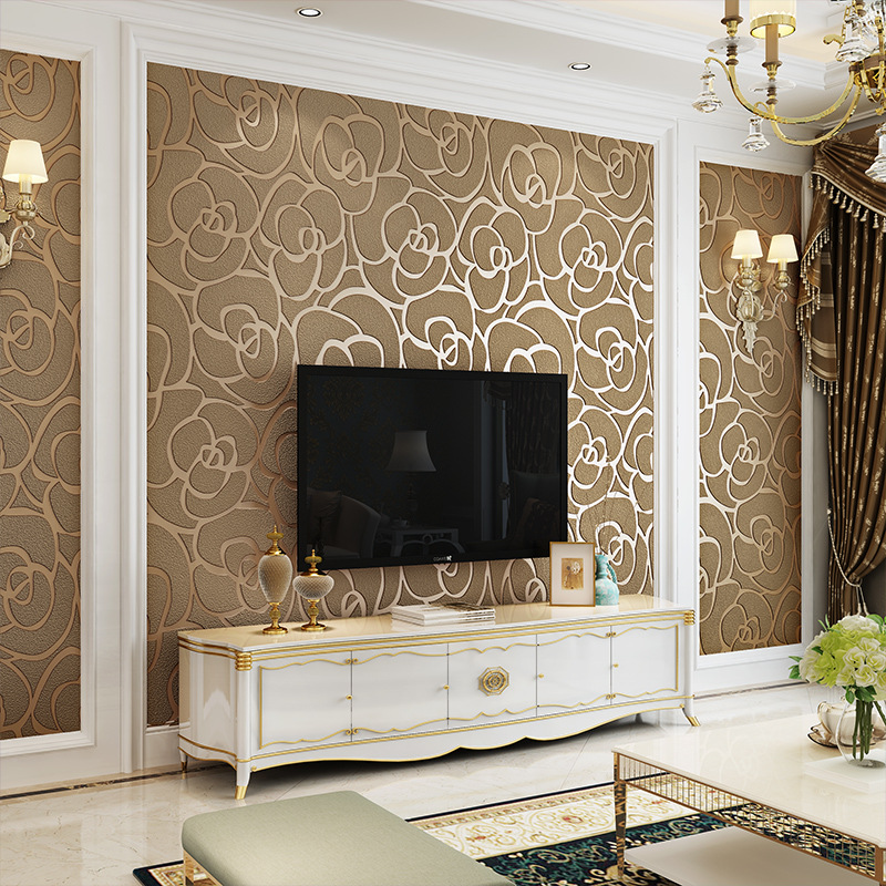 3D Thick Suede Wallpaper Hotel Stores Restaurant Decoration New Chinese Style Rose TV Background Wallpaper