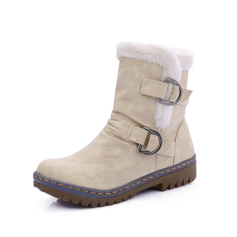 NAUSK/2019 г. Зимняя кожаная теплая зимняя обувь женские ботинки бархатные сапоги до середины икры с Плюшевым Мехом женская обувь ботинки женская обувь