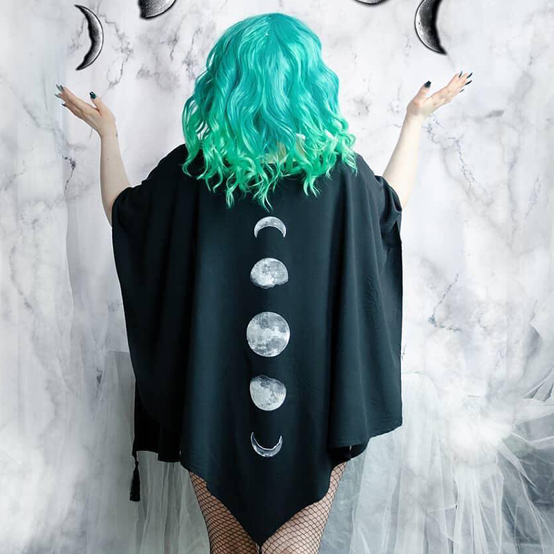 Black Moon-phase Bat-wing Cape