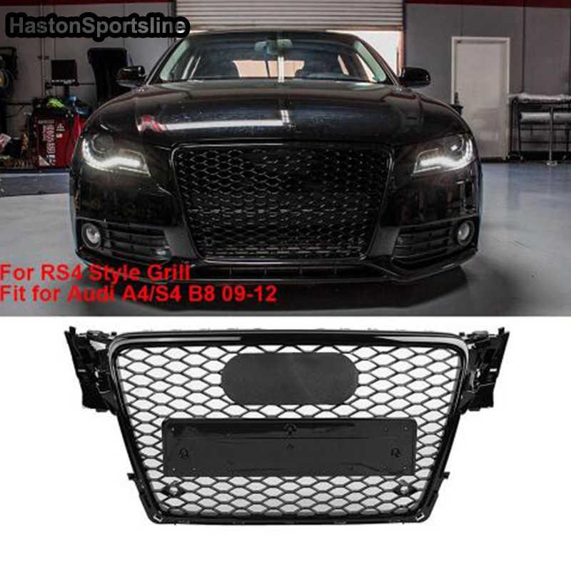 A4 B8 修正された RS4 スタイルフロントハニカムバンパーエンジングリルグリッドアウディ A4 S4 RS4 2009-2012