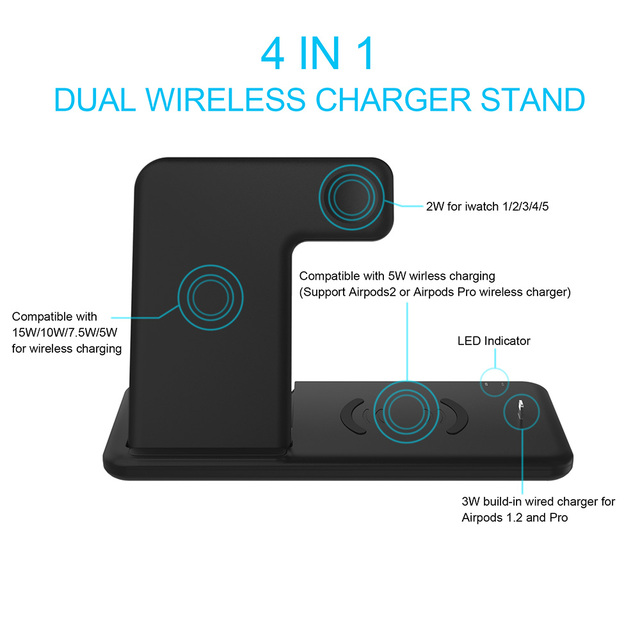 Wireless Charger Stand 3 in 1 Qi 15W Fast Charging Dock Station for Apple Watch iWatch 6 5 4 AirPods Pro iPhone 12 11 XS XR X 8 5
