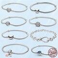 Fashion Femme Bracelet 925 Sterling Silver Heart Snake Chain Bracelet For Women Fit Original Pan Charm Beads Jewelry Gift