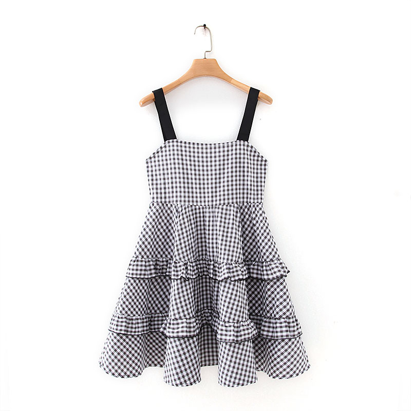 Women Pleat Ruffles Plaid Mini Dress Sexy Backless Sleeveless Spaghetti Straps Female Casual Chic A Line Dresses Vestidos DS3470