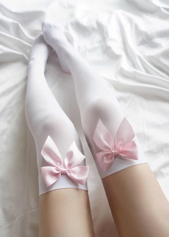 Handgemaakte Roze Boog Kousen Vrouwen Sexy Fluwelen Dij Hoge Sheer Over Knie Kousen Anime Accessoires Lolita Sokken
