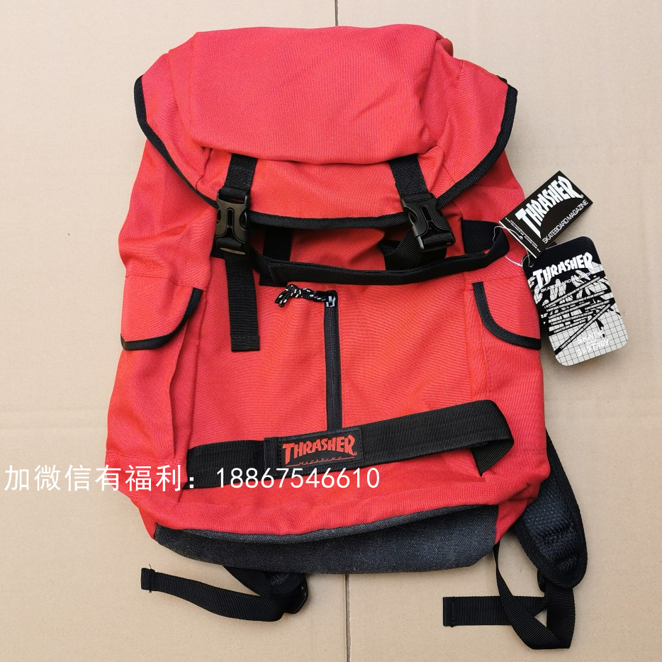 Thrasher Skateboard Bag Good Quality School Bags Red Color Multiple Pockets