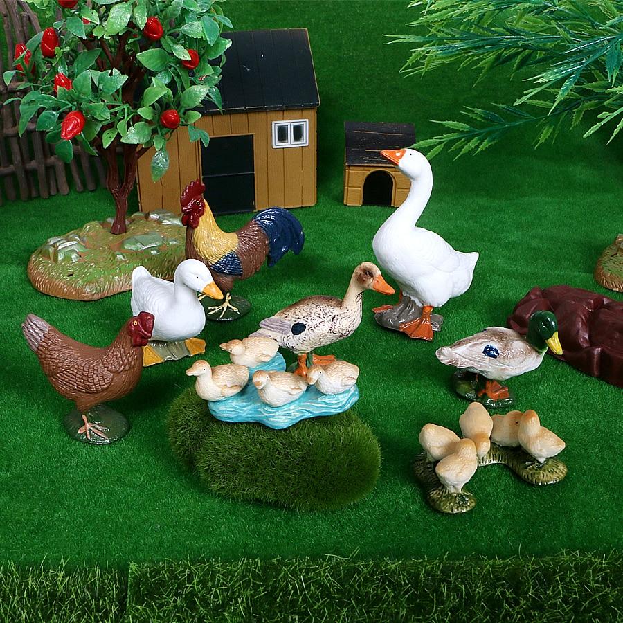Миниатюрный Набор игрушечных животных на ферме ПВХ модели для кур, домашней птицы утка козы модели деревьев экшн-фигурки обучающие игрушки ...