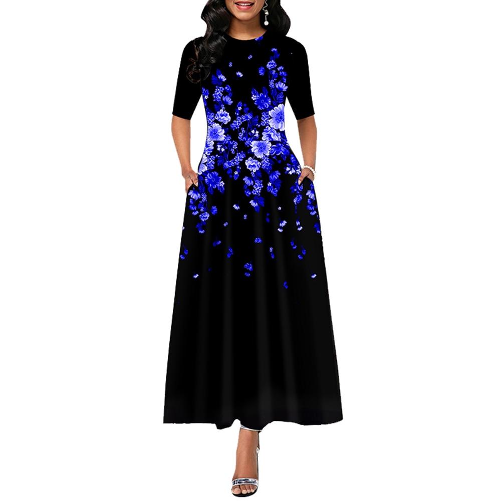 Woman Dress 2021 Summer Casual Slim Floral Print High Waist Maxi Dresses