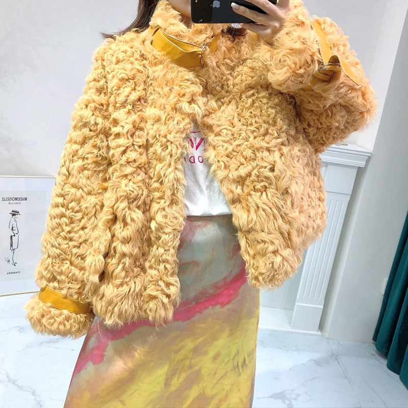 Real Fur Women Coats 2019 Winter Fashion Natural Lamb Fur Outwear Karakul Sheep Fur Warm And Thick