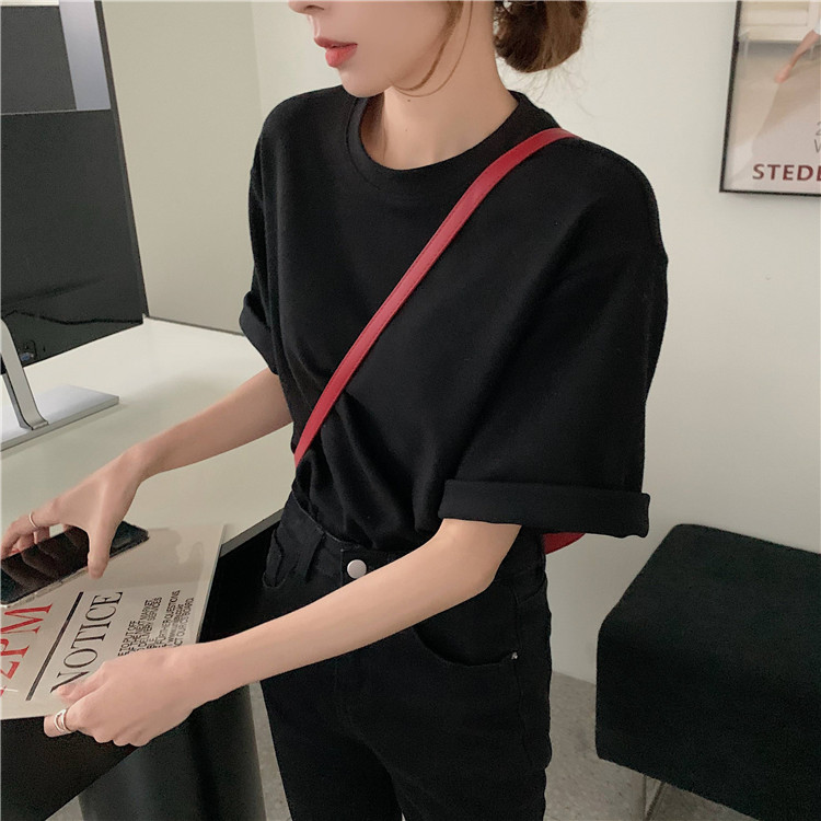H79f31172ef9943f0bb2d1656c2ab394dy - Summer O-Neck Short Sleeves Cotton Basic Solid T-Shirt