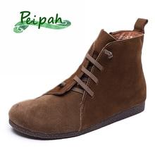 PEIPAH/Женская обувь из натуральной кожи; женские ботильоны; женские ботинки на резиновой подошве в стиле ретро; сезон весна-осень; botas Mujer;