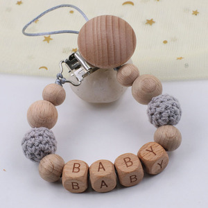 Personalised Name Beech Wood Pacifier Clips Chain Safe Crochet Beads Teething Chain Baby Teether Dummy Clips Holder