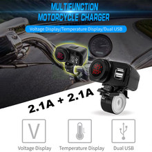 Voltímetro Digital y termómetro, fuente de alimentación de 12 V/24 V, enchufes/salidas LED rojas, Cargador USB para motocicleta, 2.1A + 2.1A w