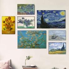 Famoso artista van gogh céu estrelado pintura a óleo girassóis impressão em tela posters arte da parede imagem para sala de estar decoração