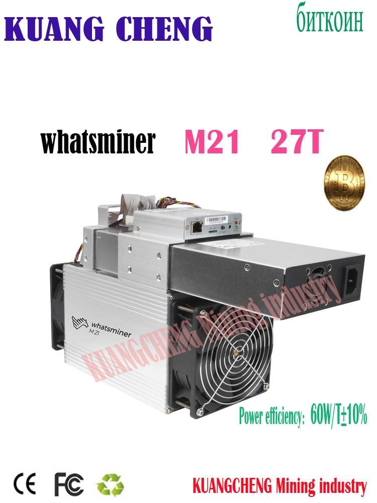 Fast Shipping WhatsMiner M21 27T Miner M21 Sha256 Miner Asic BTC BCH Bsv Mining Machine  Better Than Antminer S9k S9se T2T 26t